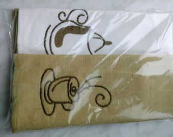Gift set of two kitchen towels. FLAX(LINEN) 100. An mashinnaya embroidery. 50 x 70 cm