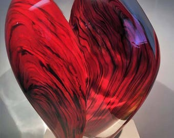 SALE! Hand Blown Glass Red and Clear Glass Sculpture