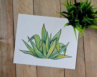 Agave Art Print - Art Print on Handmade Paper - Cactus Lover - Cactus Wall Art - Mexican Cactus Art - Maguey
