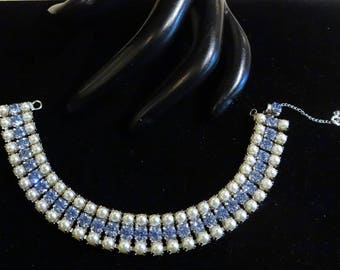 Beautiful Vintage Faux Pearl and Light Blue Rhinestone Bracelet
