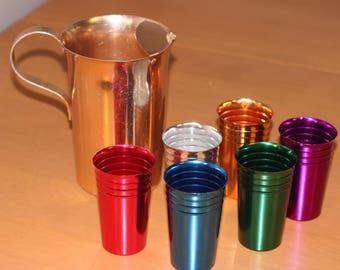 Vintage Anodized Aluminum Drink Set with Pitcher Anondized Alluminum Glasses by Nine Star Vintage