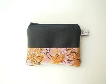 "Wallet "" Black imitation leather, pink cherry tree japanese flowers and golden piping """