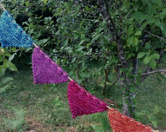 Retro Summer. Festival/ Yarn Bombing/ Bunting. Decoration. Knitted.