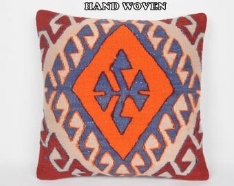 boho kilim pillow 20x20 tribal pillow case 20x20 decorative pillow kilim pouf pillow antique rug pillow sofa pillow throw pillow kilim B3094