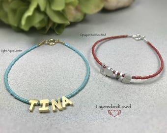 Bridesmaid Gift Bracelet / Initial Bracelet / Name Bracelet / Custom Color / Sterling Silver Bracelet / Gold Filled Bracelet