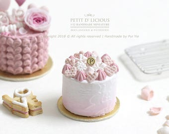 Valentine's ~Adorable Ombre Pastel Pink Icing Cake -PINK-in 1/12th miniature dollhouse Cake