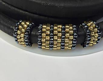 SALE: 3pc Handmade Beaded Tube Set, Licorice Leather Half Round,, 8mm round cord, Versatile, Metallic Hematite and Topaz,