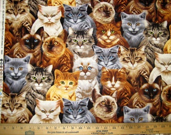 Realistic Kitty Cat Cotton Fabric, Meow! [Choose Your Cut Size]