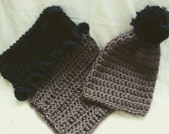 Color block hat and infinity scarf set