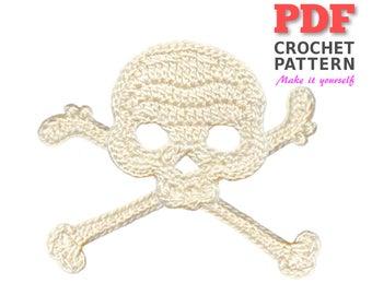 Crochet Pattern | Crochet SKULL & CROSSBONES | Applique Pattern | Crochet Embellishment | PDF Instant Download