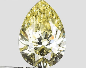 See Video - GIA Certified 0.71ctw Untreated Natural Diamond Pear Fancy Intense Yellow Loose