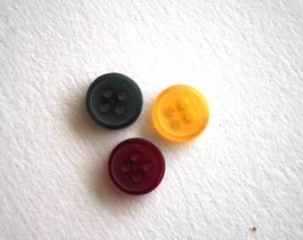 Set of 3 red yellow green buttons 10 mm