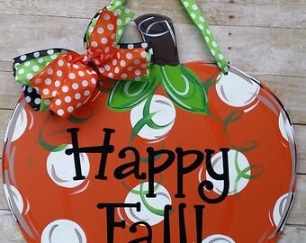 Door decoration, Fall Pumpkin, door hanger , fall wreath, happy fall, fall door decoration