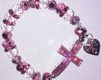 Religious Christian Jewelry Cross Heart Bracelet Religious Jewelry Christian Bling Breast Cancer Awareness BR167.5