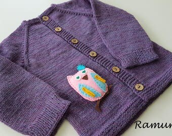 Purple merino wool sweater for children / Purple hand knitted cardigan for baby - kids/ Children sweater, jacket, cardigan, owl