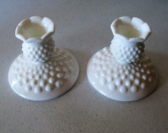 Fenton Hobnail Pair Of Milk Glass Candlestick Holders