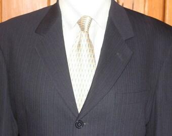 Vintage Pierre Cardin 100% Wool Navy Striped Blazer Size 40 S