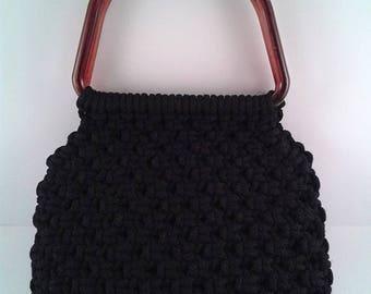 HAPPY SUMMER SALE Vintage Black Knotted Handbag with Tortoise Shell Handles