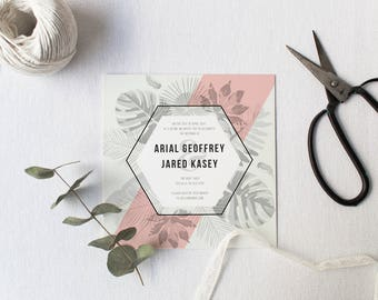 DIY Printable Tropical Beach Leaves Wedding Invitation | Details | RSVP | Save the Date + More Available on Request