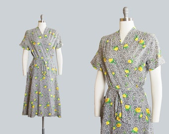 Vintage 1940s Dress | 40s Rose Paisley Floral Print Cotton Yellow Black Maxi Wrap House Day Dress (small/medium)