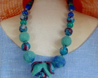 OOAK Necklace in various shades of green and blue and various materials.