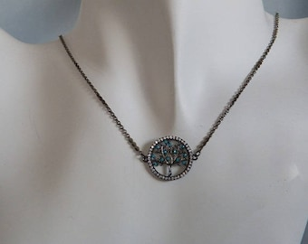 25mm Pave and Gunmetal Tree of Life Pendant Necklace