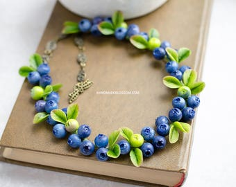 Blueberry necklace, fimo berries necklace, fimo blueberries jewelry, berry jewelry polymer clay, rustic wedding jewelry