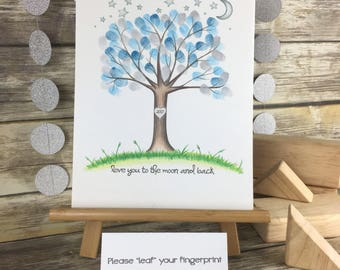 INSTANT DOWNLOAD Gender neutral thumbprint tree guest book with a crescent moon and stars for a baby shower, love you to the moon