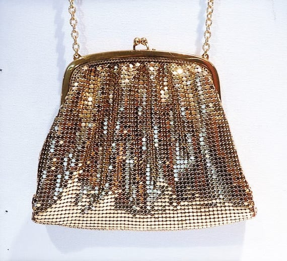 Whiting Davis Gold Enamel Mesh Purse / Evening Handbag Bag
