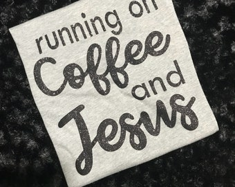 Coffee & Jesus tshirt, black glitter grey tshirt