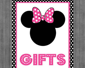 FLASH SALE Minnie Mouse Birthday Sign, Gift Sign, Black, Pink