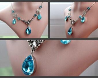 Sparkle necklace - aqua silver
