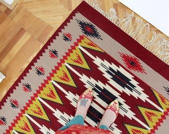 Vintage Rug // Yugoslavian Floor Kilim // Colorful Geometrical Pattern Rug // Hand Woven Woolen Carpet