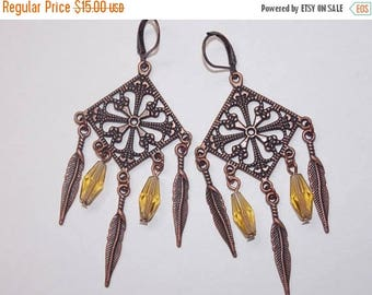 15%OFF Copper Feather Charms Yellow Glass Beads Chandelier Earrings