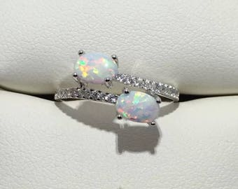 Two Stone 1 CT White Opal and CZ Solid Sterling Silver Ring Sz 7