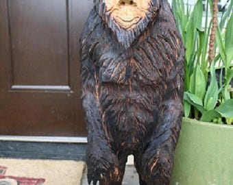 Ends Thursday New Chainsaw Carved BigFoot Yeti Sasquatch from 35 to 40 inches tall cedar wood stump burned art hand carved wooden sculpture