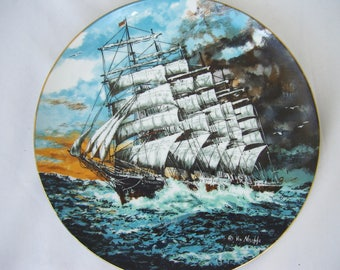 Preussen Sail Plate by Ernest Von Neschke Tall Ship Masted Ship Artist Signed Rust Oleum Corp Very Limited Numbered Plate 1977 Nautical