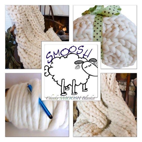 KNIT KIT, Chunky Blanket, chunky yarn, needles, pattern, DIY Chunky Throw!