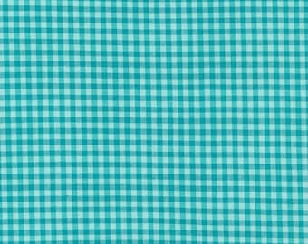 Turquoise Checks Please for Cloud 9, Organic Yarn Dyed Broadcloth, fabric by the yard, organic fabric, modern quilt, fashion, modern blender