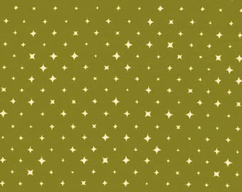 Shoots, We Are Stars for Cloud 9, Organic, Broadcloth, fabric by the yard, organic fabric, modern blender, nursery print, olive