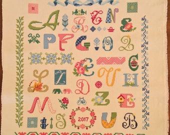 Cross Stitch Canvas- Carnival Letters- 45x45cm