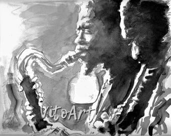 John Coltrane Eric Dolphy Saxophone Duet Jazz Art Watercolor Portrait Illustration Wall Decor Limited Edition Poster Print