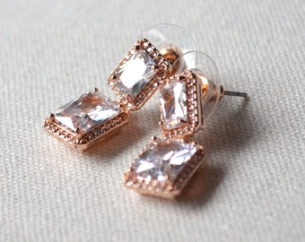 Square pink earrings