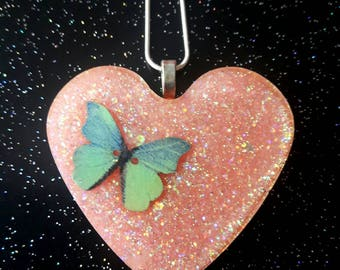 Butterfly Necklace, Heart Shaped Pendant, Glitter Resin Jewellery, Pastel Necklace, Boho Jewellery, Gift For Her, Glitter Butterfly