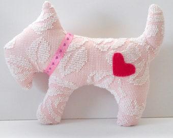 Scottie dog plushie, pink and white hobnail chenille scotty dog, scottie pillow, pet scotty dog, child's gift dog, scottish terrier chenille