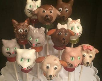 12 PUPPIES and KITTENS, Pet Groomer, Doc McStuffins cake pops, animal lovers, birthday party