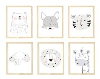 Nursery wall art, Black and white nursery art, Nursery Animals Art, Giraffe and Zebra Nursery