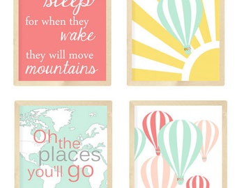 Hot Air Balloon Nursery, Oh the places you will go, Coral and mint nursery, Twins Nursery Decor, set of 4 8X10, Choose your colors