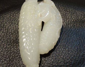 Hetian Jade Pendant, White Nephrite Carving of Cucumbers, Qing Dynasty, 132.3 Grams
