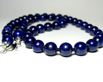Lapis Lazuli Beaded Necklace, Mens Beaded Necklace, Mens Silver Necklace, Necklace for Men, Gemstone Necklace, Handmade Necklace